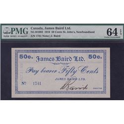 James Baird Ltd. 50 Cents Newfoundland Scrip, 1916