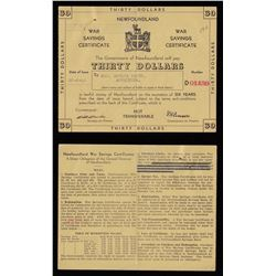 Newfoundland War Saving Certificate, Thirty Dollars