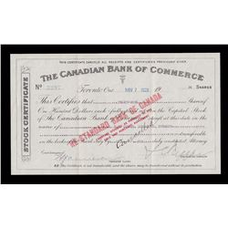 Canadian Bank of Commerce Stock Certificate, Overprinted by The Standard Bank of Canada.