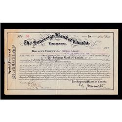 Sovereign Bank of Canada Stock Certificate