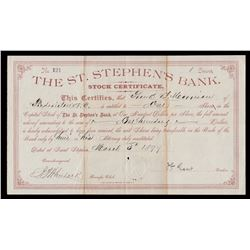 The St. Stephen's Bank Stock Certificate