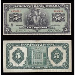 Barclays Bank of Canada $5, 1929 - SERIAL NUMBER 4