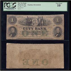 City Bank $1, 1857
