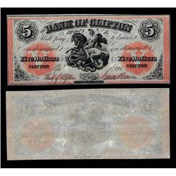 Bank of Clifton $5, 1861