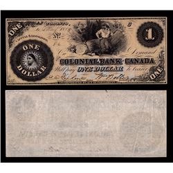 Colonial Bank of Canada $1, 1859