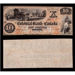 Colonial Bank of Canada $10, 1859