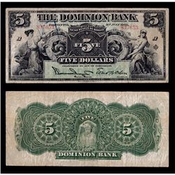 Dominion Bank $5, 1905