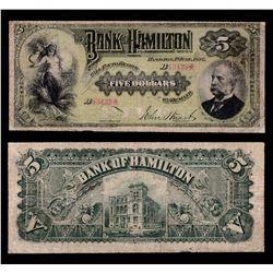 Bank of Hamilton $5, 1892