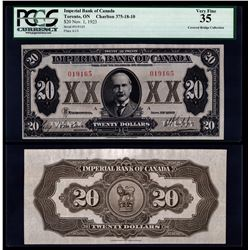 Imperial Bank of Canada $20, 1923