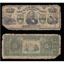 Bank of London $5, 1883