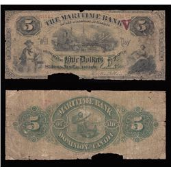 Maritime Bank $5, 1881 - Red V Overprint