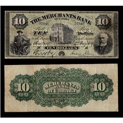 Merchants Bank of Canada $10, 1886