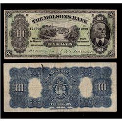 Molsons Bank $10, 1916