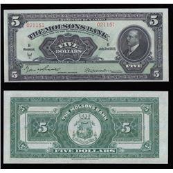 Molsons Bank $5, 1922