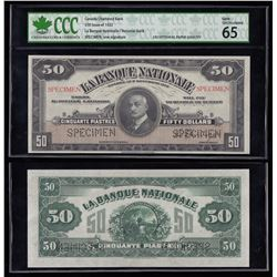 Banque Nationale $50, 1922 Specimen