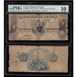 Unique La Banque Du Peuple $5, 1845