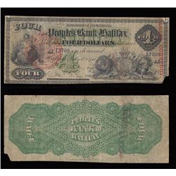 Peoples Bank of Halifax $4, 1870