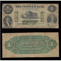 Peoples Bank of New Brunswick $1, 1881