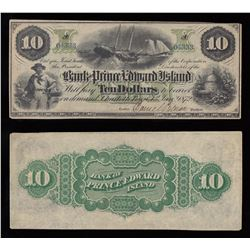 Bank of Prince Edward Island $10, 1872 Remainder