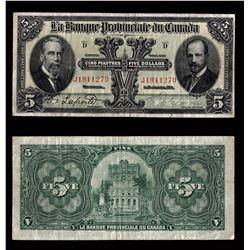 La Banque Provinciale du Canada $5, 1919