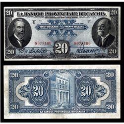La Banque Provinciale du Canada $20, 1928