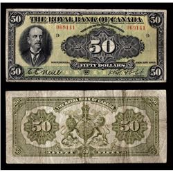 Royal Bank of Canada $50, 1913