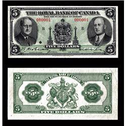 Royal Bank of Canada $5, 1943 SERIAL NUMBER 1