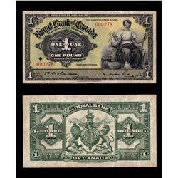 Royal Bank of Canada £1, 1938 - Kingston, Jamaica