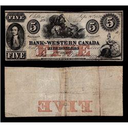 Bank of Western Canada $5, 1859
