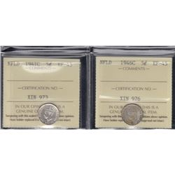 Newfoundland Five Cent ICCS Graded Lot of 2