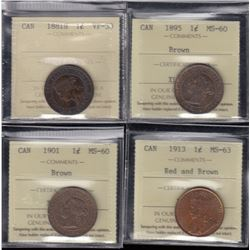 Canada - Lot of 4 ICCS Graded Large Cents