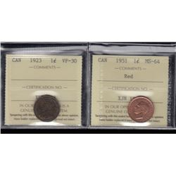 Canada - Lot of 2 ICCS Graded One Cents