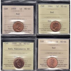 Canada - Lot of 4 ICCS Graded One Cents