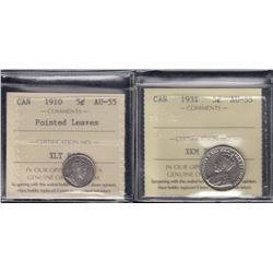 Canada - Lot of 2 ICCS Graded Five Cents