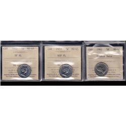 Canada - Lot of 3 ICCS Graded Five Cents