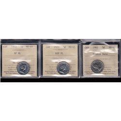Canada - Lot of3 ICCS Graded Five Cents