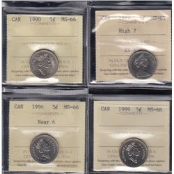 Canada - Lot of 4 ICCS Graded Five Cents