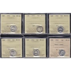 Canada - Lot of 6 ICCS Ten Cents