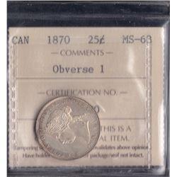 Canada - 1870 Twenty Five Cents