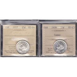 Canada - Lot of 2 ICCS Graded Twenty Five Cents