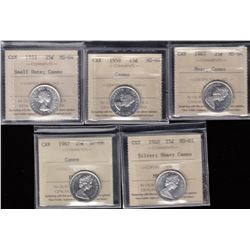Canada - Lot of 5 ICCS Graded Twenty Five Cents