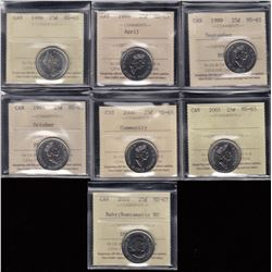Canada - Lot of 7 ICCS Graded Twenty Five Cents