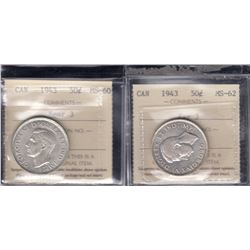 Canada - Lot of Two 1943 Fifty Cents