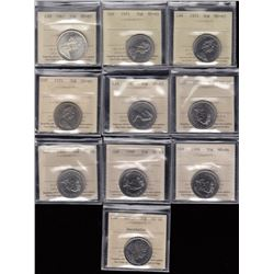 Canada - Lot of 10 ICCS Graded Fifty Cents