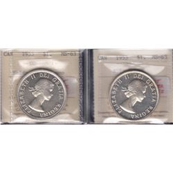 Canada - 1953 ICCS Graded Silver Dollars - Lot of 2
