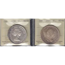 Canada - ICCS Graded Silver Dollars - Lot of 2