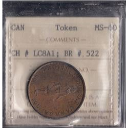 Province of Bas Canada Half Penny Bank Token, 1837