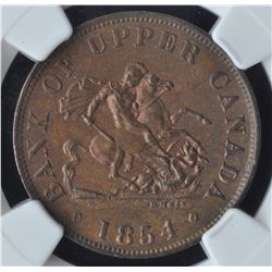 Bank of Upper Canada Half Penny Token, 1854