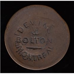 Devins and Bolton Countermark on Half Penny Token (ca. 1865)