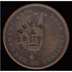 Devins and Bolton Countermark on One Penny Token (ca. 1865).